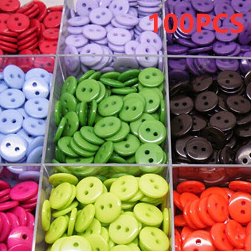 100pcs/pack 2 Holes Round Shape Kids Sewing Buttons Plastic Clothes Tools 9/11/15/20mm Garment Accessories Random Color Modern Techniques