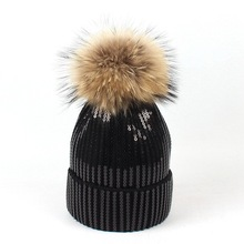 Kitted Winter Hat Women Skullies & Beanies Men Sparkling Raccoon fur Ball Beanie Hats Fashion Black hat