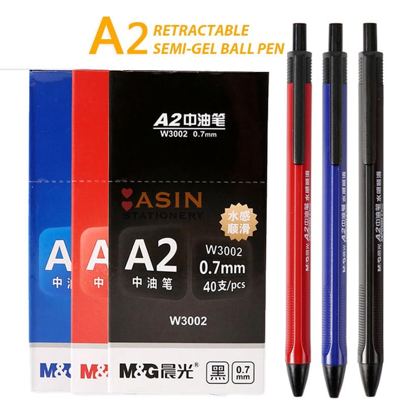 M&G 40pcs 0.7mm Black Press Ballpoint Oil Pen Plastic Gel Neutral Multi-function Press Ballpoint Pen School Stationery