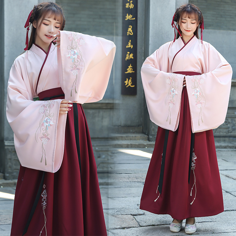 Hanfu Women Chinese Folk Dance Clothes Ancient Tang Dynasty Costumes Chinese Tops Skirts Traditional Performance Wear DN4132