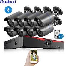 Gadinan 8CH 4MP HDMI POE NVR zestaw System bezpieczeństwa CCTV 4.0MP 3.0MP zewnętrzny zapis Audio IP kamera wideo nadzór zestaw 2TB HDD