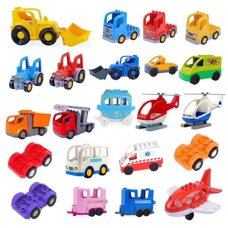 لتقوم بها بنفسك كبيرة الحجم اللبنات اكسسوارات سيارة شاحنة طائرة دراجة نارية مركبة الطوب متوافق Duplos أجزاء الاطفال اللعب هدية