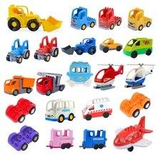 DIY tamaño grande accesorios de bloques de construcción coche camión avión motocicleta vehículo ladrillos compatibles Duplos piezas niños juguetes regalo