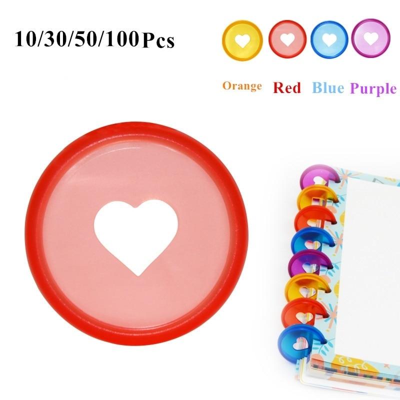10/30/50/100 Pcs Candy Color Heart Ring Binder For DiscboundNotebooks/Planner 28mm  Diy DiscboundDiscs Loose Leaf Binding Rings