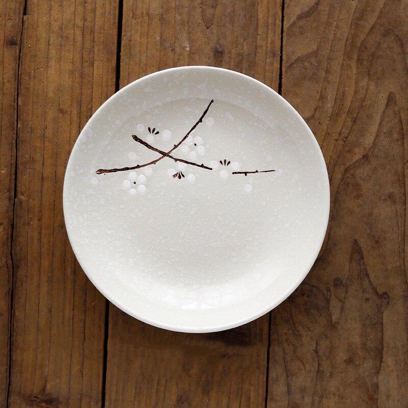7/8 дюймов японский и корейский стиль подглазурная краска глубокая тарелка и ветер Снежинка керамическая ваза для фруктов посуда для супа риса блюдо - Цвет: Белый