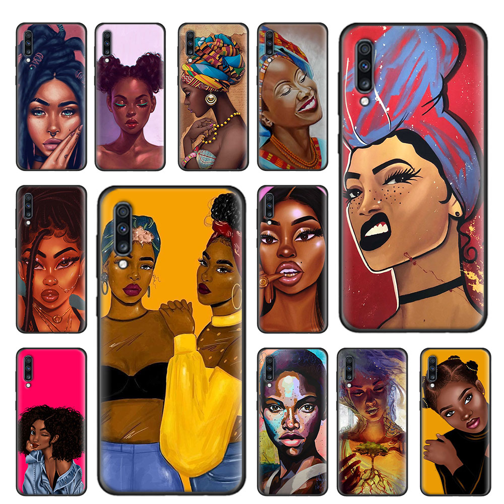 Colorful art african girl Soft Case For Samsung Galaxy A51 A71 5G A80 A70 A70s A50 A50s A40 A30 A20 A10 A21s TPU Cover Capa image