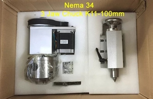 Image 5 - Nema 34 stepper motor (4:1)(K11 100mm) Chuck 100mm CNC 4th axis (A aixs, rotary axis) + Tailstock for cnc router