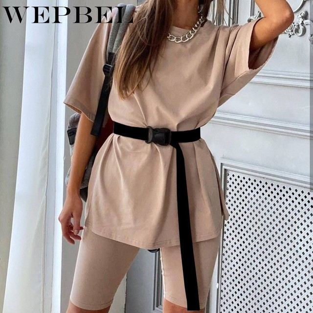 Wepbel Tracksuit Women Two Piece Set with Belt Loose Sports Leisure Sweat Suits Female Half Sleeve 2 Piece Outfits for Women