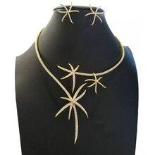GODKI Luxus Seestern Halskette Ohrring Set Afrikanischen Schmuck Sets Für Frauen Hochzeit Engagement brincos para als mulheres 2020