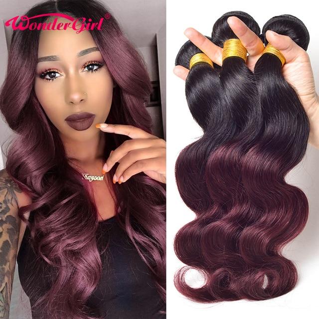 $ US $62.61 T1B 99J/Burgundy Ombre Brazilian Body Wave Bundles Two Tone Human Hair Bundles 3Pcs Wonder girl Non Remy Hair