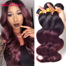 3 bundel Aanbiedingen Ombre Braziliaanse Body Wave Haar Bundels 1B 99J/Bordeaux Two Tone Human Hair Extensions Wonder meisje niet Remy Haar(China)