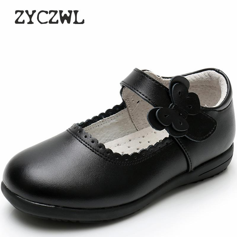 2019 New Girls Princess Leather Shoes For Black Kids Dress Shoes School Flat Shoes Breathable For Princess Student Party Dancing