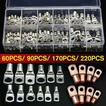 Kit de terminales de anillo de terminales de Cable de cobre con caja SC6-SC25 terminales de Cable estañado conectores de Cable desnudo de batería 60/ 90/170/220 Uds