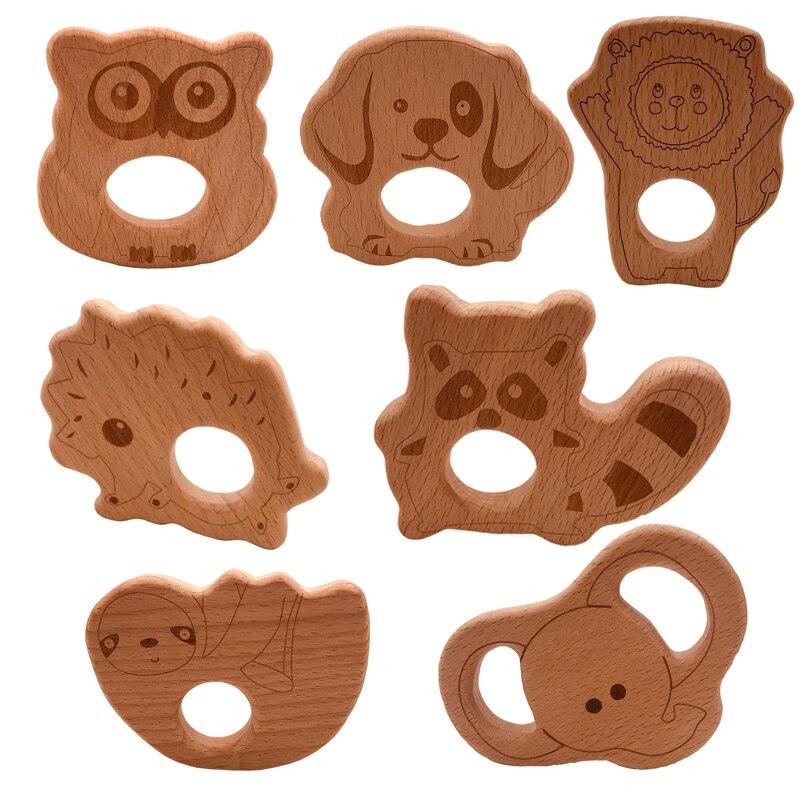 1pcs Infant Baby Teether Beech Wood Teethers Animal Shape Wood Baby Toy Teething Accessories Kid Teething Pendant Nursing Holder