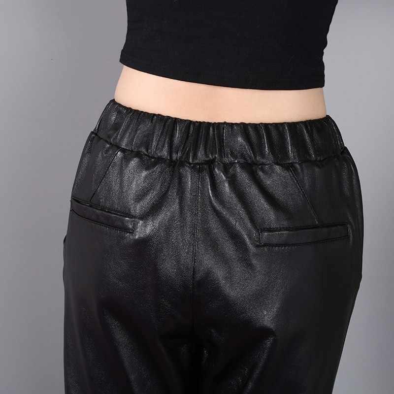 Marca superior tornozelo comprimento elástico cintura harem calças femininas bf vento genuíno couro feminino solto ajuste casual pantalon femme