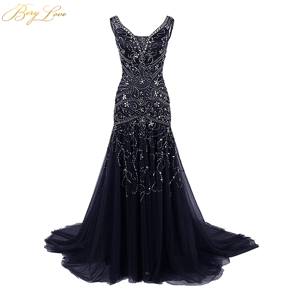 BeryLove Mermaid Bridesmaid Dress 2019 In Stock Dark Navy Blue Bridesmaid Gowns Plus Size Crystal Beading Wedding Party Dress