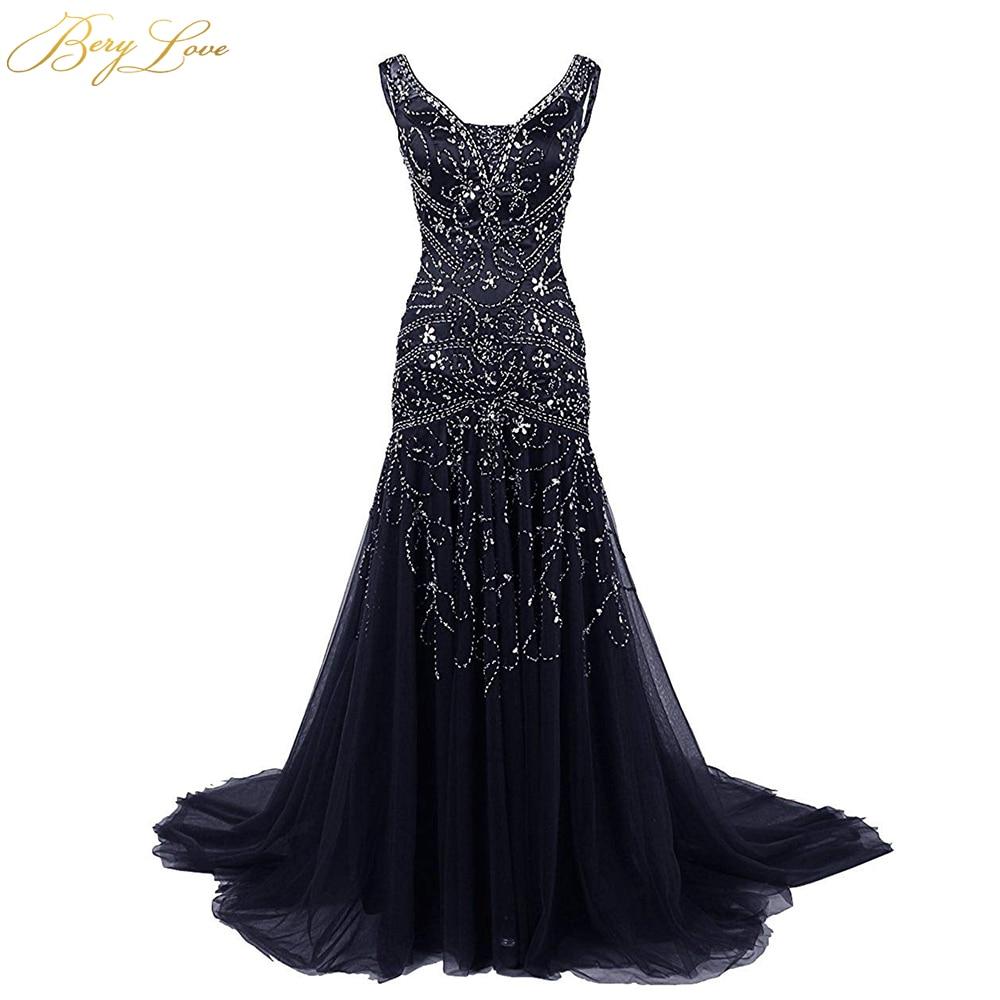 BeryLove Mermaid Bridesmaid Dress 2020 In Stock Dark Navy Blue Bridesmaid Gowns Plus Size Crystal Beading Wedding Party Dress