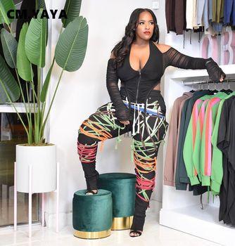 CM YAYA Streetwear kobiety zasznurować struny spodnie wysokiej talii spodnie Hip hopowe odzież sportowa sportowe spodnie dresowe dla joggerów tanie i dobre opinie COTTON POLIESTER Pełna długość Łączone CN (pochodzenie) Na wiosnę jesień GL2728 W paski Na co dzień rurki Mieszkanie