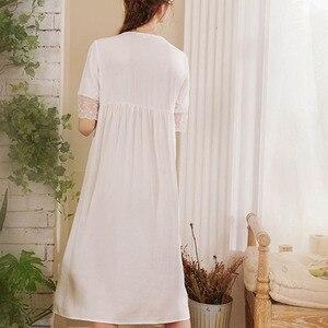Image 5 - Roseheart נשים לבן סקסי הלבשת לילה שמלת תחרה Homewear Nightwear יוקרה כתונת לילה נשי משפט שמלת כותנה