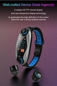 Image 2 - T90 TWS Bluetooth douszne słuchawki 2 w 1 BT 5.0 inteligentna opaska mężczyźni kobiety android ios zegarek zadzwoń bransoletka fitness douszne zatyczki do uszu
