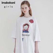 Женское свободное платье футболка imakokoni с принтом длинное