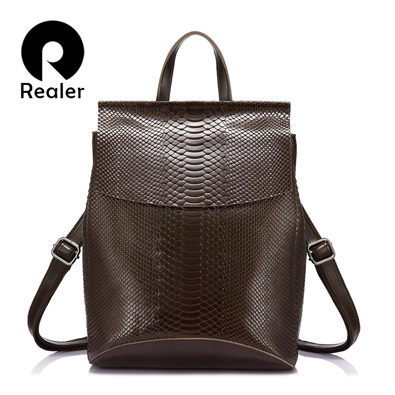 REALER Backpack Women Travel Bag Split Leather Backpacks For School High Capacity Backpacks Fashion Multifunctional Bags Ladies