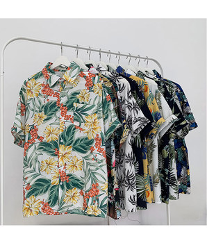 Floral Shirt Mens Short Sleeve Vetiver Korean Version Loose Summer Retro Trend Men Women Handsome Hawaii Beach
