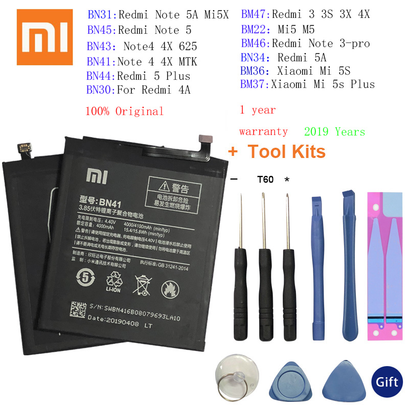 Original XiaoMi Replacement <font><b>Battery</b></font> For Xiaomi Redmi 3 3S 3X 4X 4A 5A 3 pro <font><b>5</b></font> Plus Note 3 4 4X <font><b>5</b></font> 5A Pro Mi5 <font><b>Mi</b></font> 5X MI5S <font><b>Batteries</b></font> image