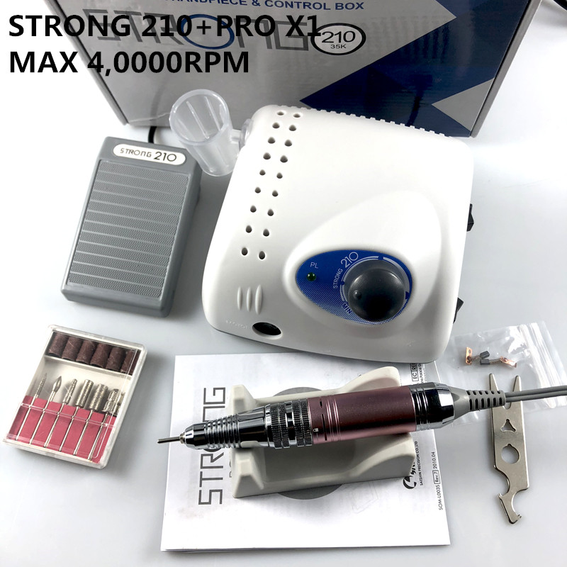 65W 40000RPM Electric Nail Drill Machine Strong 210 Model PRO X1 Handpiece Manicure Pedicure Nail File Bit Nail Art Equipment