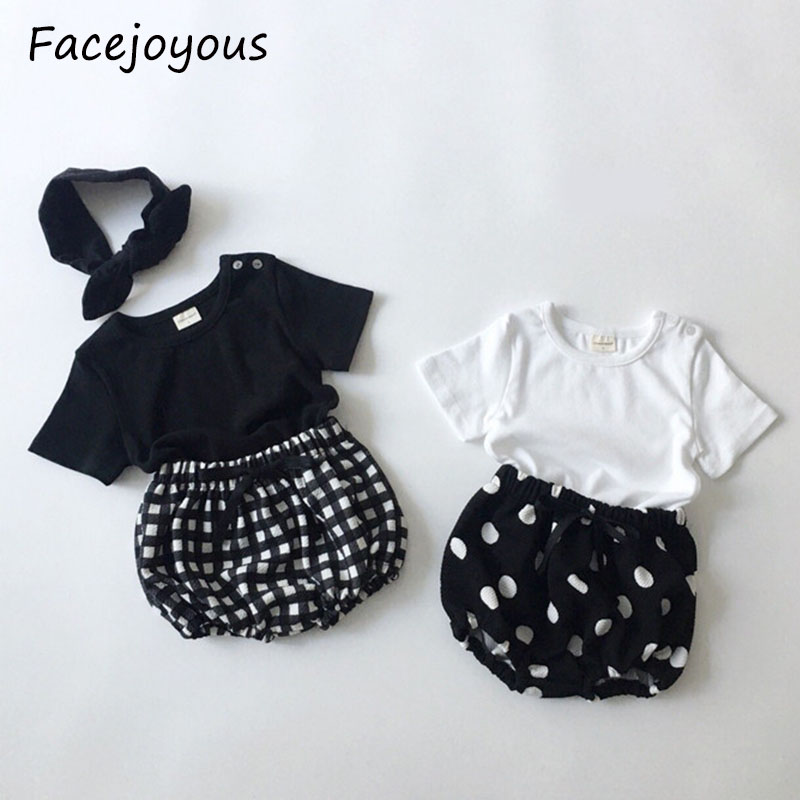 3pcs Summer Newborn Baby Girl Clothes Set Cotton Casual Short Sleeve T-shirt Tops+shorts+headband Toddler Infant Outfit Suit