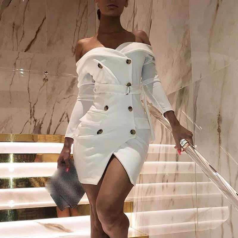 Women Party Suit Dress Sexy White Wrapped Chest Button Blazer Off Shoulder Dress Elegant Long Sleeve Bodycon Dress