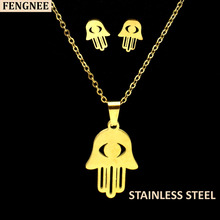 fengnee Gold Color Stainless Steel Sets For Women hand Necklace Earrings Jewelry Set Wedding Jewelry gold color stainless steel jewelry sets romantic wedding earrings necklaces for women crystal and opal jewelry