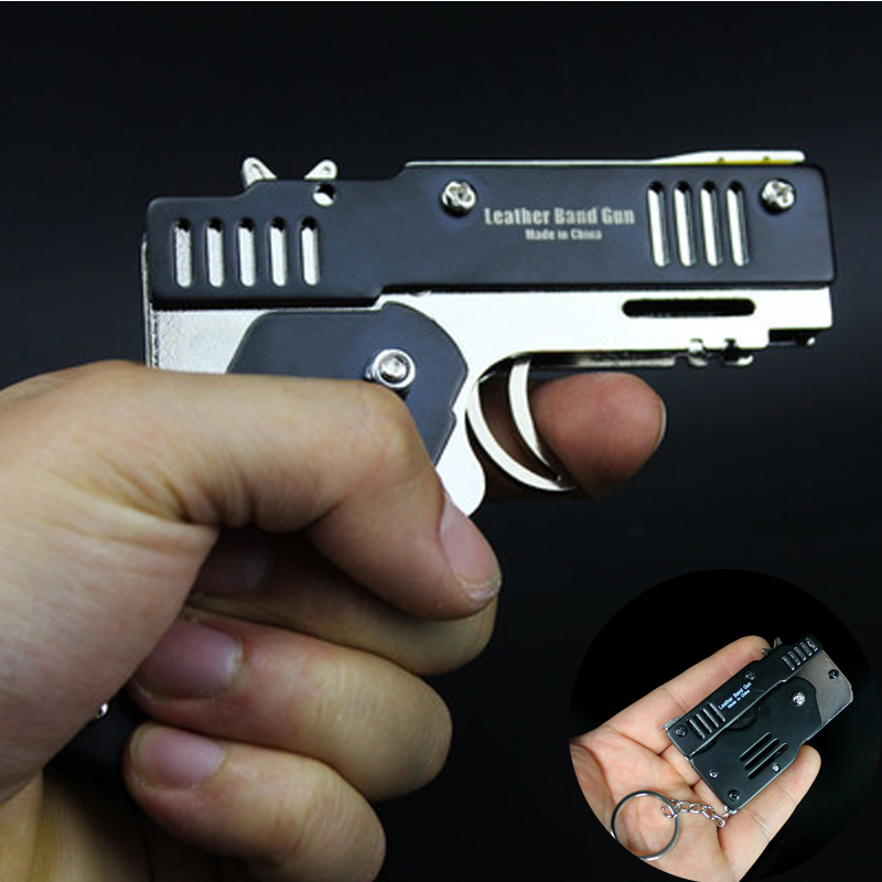 Funny Mini Metal Folding Six Bursts Rubber Band Gun Deformation The Key Chain Shooting Toy For Boys Outdoor Pistol Toy Gift