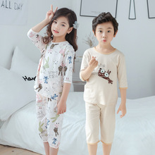 Pajamas Mid-Sleeve Home-Clothes Girls Boys Cotton Children Summer New Shirt Air-Conditioning