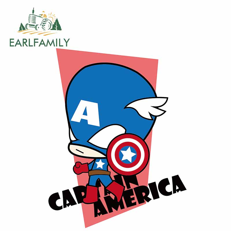 EARLFAMILY 13cm x 10cm Marvel Heroes Captain America Car <font><b>Sticker</b></font> Decal 3D Vinyl Decal for <font><b>Windows</b></font> Car Body Cover Decoration image