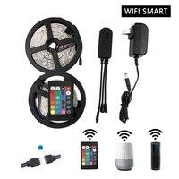 10m WiFi LED Strip Light RGB Waterproof SMD 5050 DC12V rgb String Flexible Ribbon WiFi Contoller+Adapter plug
