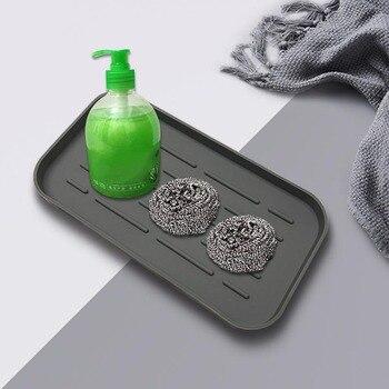 Bandeja de desagüe de silicona para vajilla taza de agua frutas vegetales cocina organizador para fregadero bandeja de almacenamiento soporte de esponja dispensador de jabón