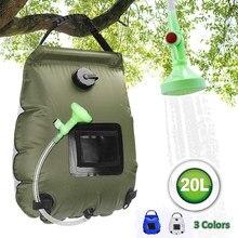 Sacos de água 20l acampamento ao ar livre caminhadas saco de chuveiro solar aquecimento acampamento chuveiro escalada hidratação mangueira comutável cabeça chuveiro
