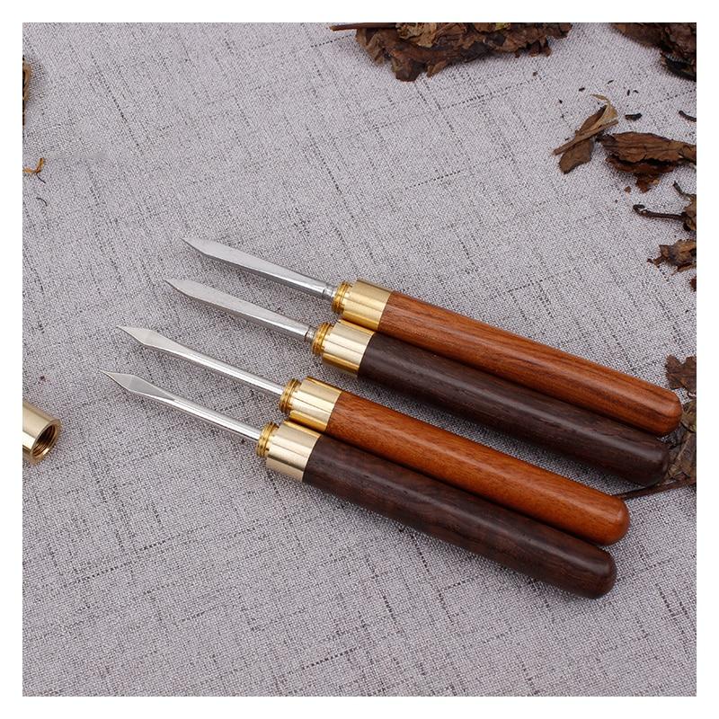 Tea Knife Sandalwood Stainless Steel Pu Er Dedicated Tea Needle Accessories Spiral