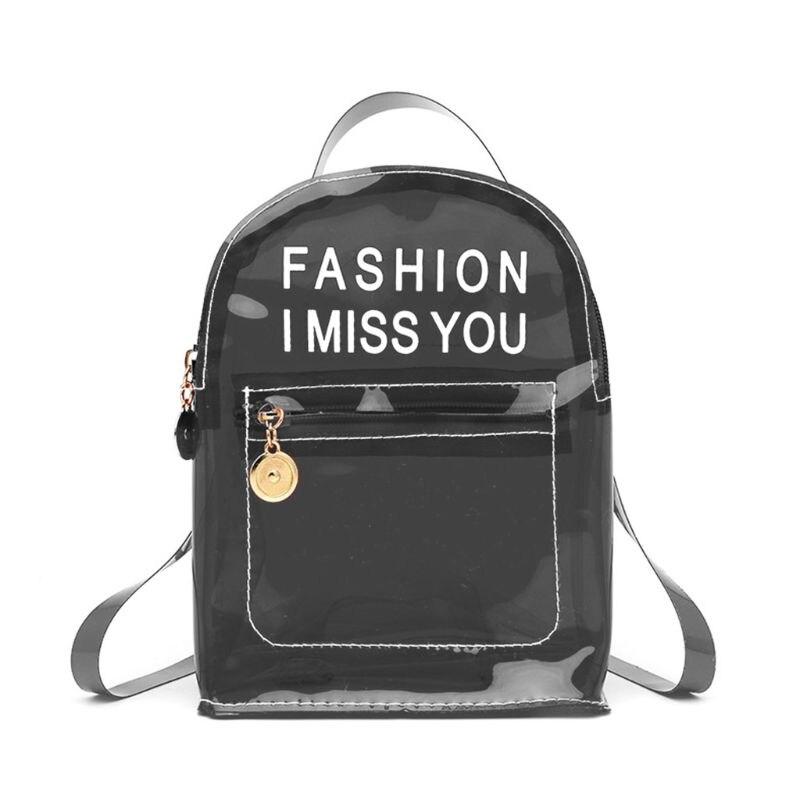 Fashion Transparent PVC Backpack Travel School Book Bag Daypack for Teenager