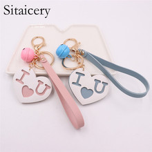 Sitaicery Letters Key Chain For Men Women Gold Metal Keychain Key Ring Letter I Love You Bell Key Holder Lover's Gift Jewelry