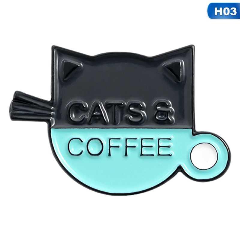 Katten Koffie Emaille Pin Mooie Pug Puppy Kat Cafe Broches Badges Zak Shirt Revers Pin Gesp Leuke Dier Sieraden Gift voor Vrienden