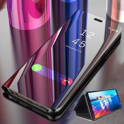 Luxo espelho inteligente caso da aleta para xiaomi redmi nota 9s 5 6 7 8 pro 8t redmi 9a 9c 8a 7a 5a capa de couro casos