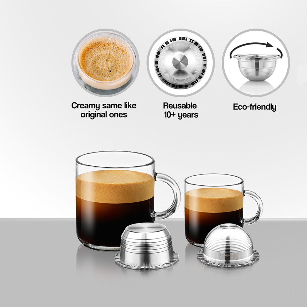 Vip Link Coffee Filters For Nespresso Vertuo Vertuoline Plus & Delonghi ENV150 Stainless Steel Refillable Reusable Capsule Pod