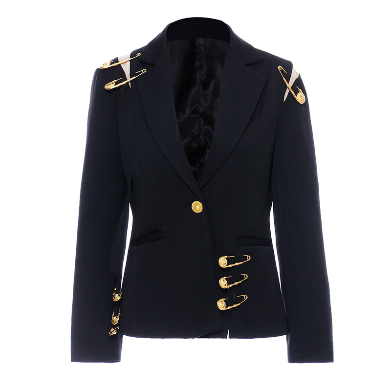 New Fashion 2019 Autumn Notched Long Sleeve One Button Metal Pin Mesh Pockets Jacket Loose Coat Single Suit Women N940