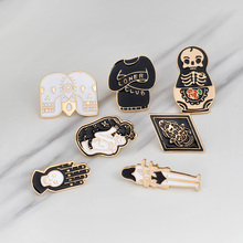 Gothic Skull Skeleton Brooches Metal pin button Badges Enamel Hand Women Sweater Kiss Brooch Black Pins Halloween Jewelry Gifts gothic skull skeleton brooches metal pin button badges enamel hand women sweater kiss brooch black pins halloween jewelry gifts