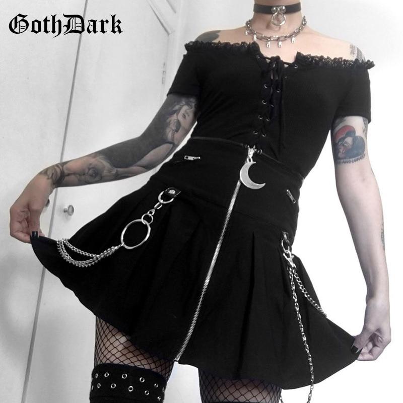 Goth Dark Black Gothic Vintage Skirts Harajuku moon Pendant Autumn Winter 2019 Grunge Punk Rock MIni Skirt Women Zipper Chic 1