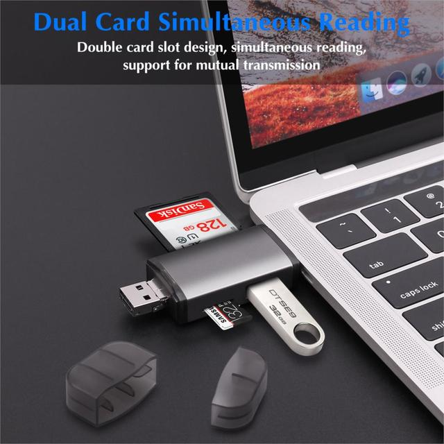 GOOJODOQ Card Reader Micro USB 2.0 Type C to SD Micro SD TF Adapter Accessories OTG Cardreader Smart Memory SD Card Reader 3