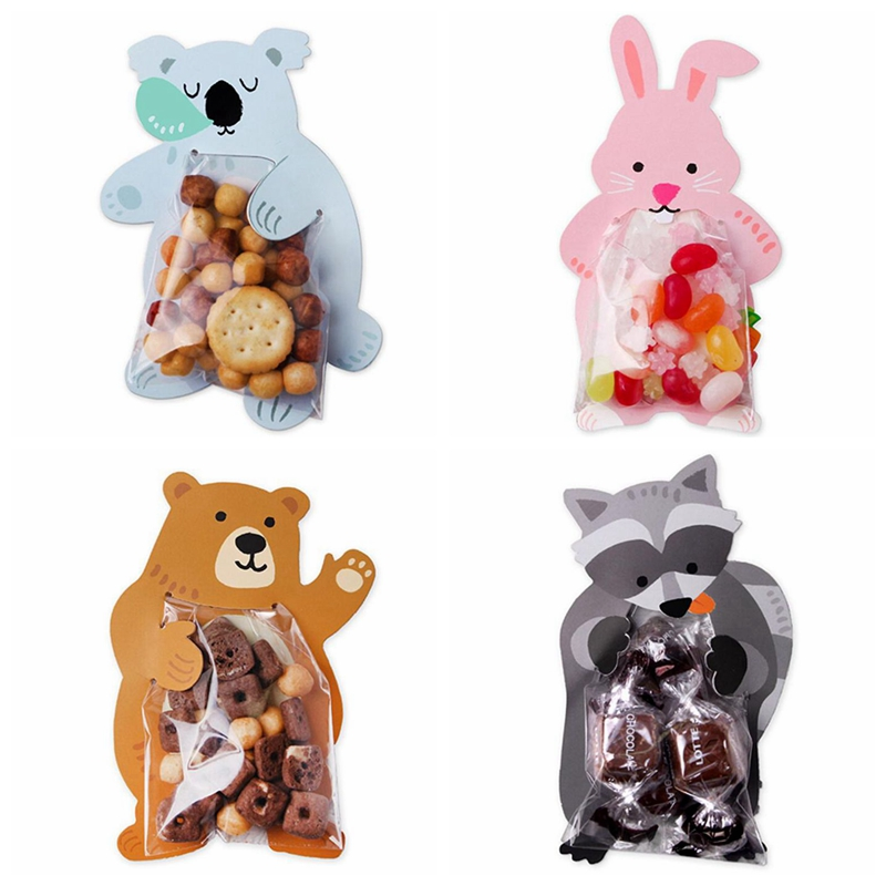 10pcs/lot Cute Animal Bear Rabbit Candy Bags Cookie Bags Gift Bags Greeting Cards Baby Shower Birthday Party Candy Box