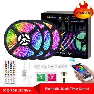 Светодиодная лента RGB, водонепроницаемая, гибкая, с Bluetooth, 32 фута, 300 светодиодов, SMD5050, с пультом дистанционного управления, синхронизацией му...